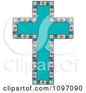 Clipart Turquoise Peace Dove Patterned Easter Cross Bordered With Stained Glass Royalty Free Vector Illustration