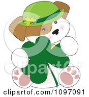 Clipart Cute St Patricks Day Puppy Sitting With A Shamrock Royalty Free Vector Illustration