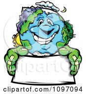 Happy Earth Mascot Holding A Sign