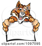 Clipart Happy Fox Mascot Holding A Sign Royalty Free Vector Illustration