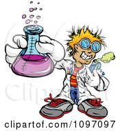 Happy Blond Scientist Boy Holding A Flask And Test Tube