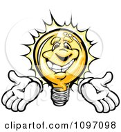 Clipart Happy Shining Light Bulb Mascot Holding His Arms Out Royalty Free Vector Illustration