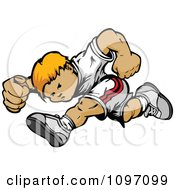 Clipart Athletic Blond Boy Running Royalty Free Vector Illustration