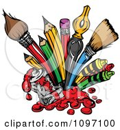 Clipart Messy Spilling Red Tube Of Paint And Art Supplies Royalty Free Vector Illustration