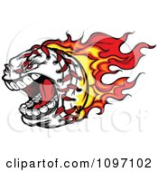 Clipart Screaming Baseball With Red And Orange Flames Royalty Free Vector Illustration