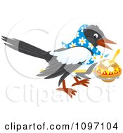 Clipart Magpie Wearing A Bandana And Lifting A Pot Of Food Royalty Free Vector Illustration by Alex Bannykh