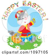 Clipart Happy Easter Greeting Over A Cat Gathering Eggs Royalty Free Vector Illustration