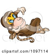 Clipart Pensive Monkey Leaning Back And Gesturing With His Hand Royalty Free Vector Illustration