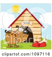 Clipart Brown Bulldog With A Bone In His Dish Outside His Dog House Royalty Free Vector Illustration