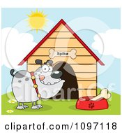 Clipart Gray Bulldog With A Bone In His Dish Outside His Dog House Royalty Free Vector Illustration