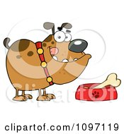 Clipart Brown Bulldog With A Bone In His Dish Bowl Royalty Free Vector Illustration