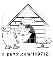 Clipart Black And White Bulldog With A Bone In His Dish Outside His Dog House Royalty Free Vector Illustration
