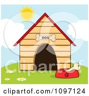 Clipart Bone In A Dish Outside A Dog House Royalty Free Vector Illustration