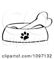 Clipart Black And White Bone In A Dog Bowl Dish Royalty Free Vector Illustration