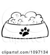 Clipart Wet Dog Food In A Black And White Food Bowl Dish Royalty Free Vector Illustration