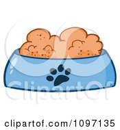 Clipart Wet Dog Food In A Blue Food Bowl Dish Royalty Free Vector Illustration