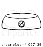 Clipart Black And White Dog Bowl Food Dish With A Paw Print Royalty Free Vector Illustration by Hit Toon