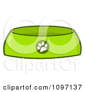 Clipart Green Dog Bowl Food Dish With A Paw Print Royalty Free Vector Illustration