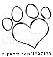 Clipart Outlined Heart Shaped Dog Paw Print Royalty Free Vector Illustration
