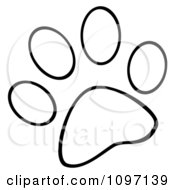 Clipart Outlined Dog Paw Print Royalty Free Vector Illustration