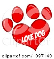 Clipart Red Love Dog Heart Shaped Paw Print Royalty Free Vector Illustration