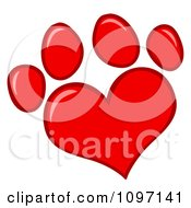 Red Heart Shaped Dog Paw Print by Hit Toon