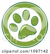 Clipart Green And White Dog Paw Print Circle Royalty Free Vector Illustration