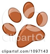 Clipart Brown Dog Paw Print Royalty Free Vector Illustration
