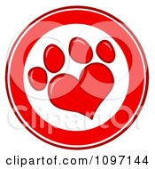 Clipart Red And White Heart Shaped Dog Paw Print Circle Royalty Free Vector Illustration