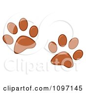 Clipart Two Brown Dog Paw Prints Royalty Free Vector Illustration