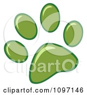 Clipart Green Dog Paw Print Royalty Free Vector Illustration