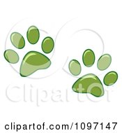 Clipart Two Green Dog Paw Prints Royalty Free Vector Illustration