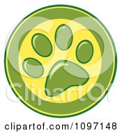 Clipart Green And Yellow Dog Paw Print Circle Royalty Free Vector Illustration