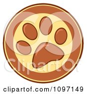 Clipart Brown And Yellow Dog Paw Print Circle Royalty Free Vector Illustration
