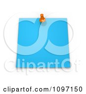 3d Blank Blue Memo Note With An Orange Drawing Pin