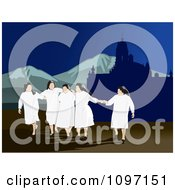 Clipart Group Of Happy Nuns Holding Hands And Walking Outdoors Royalty Free Vector Illustration by David Rey