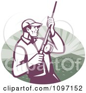 Clipart Retro Fly Fisherman Reeling In His Catch On A Lake Shore Over A Mountain And Water Oval Royalty Free Vector Illustration