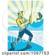 Clipart Retro Fly Fisherman Reeling In A Largemouth Bass On A Beach Royalty Free Vector Illustration