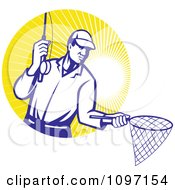 Clipart Retro Fly Fisherman Holding Out A Fishing Net Over A Circle Of Sun Rays Royalty Free Vector Illustration