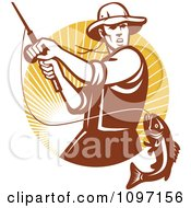Clipart Retro Fly Fisherman Reeling In A Largemouth Bass Fish In A Circle Of Rays Royalty Free Vector Illustration