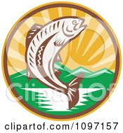 Clipart Retro Wodcut Trout Fish Jumping Over A River Royalty Free Vector Illustration by patrimonio