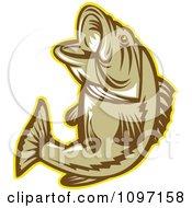 Clipart Retro Woodcut Largemouth Bass Fish Jumping Royalty Free Vector Illustration by patrimonio