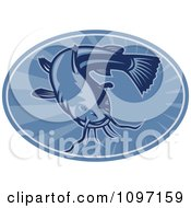 Clipart Retro Woodcut Styled Blue Bullhead Catfish Oval Royalty Free Vector Illustration