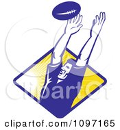 Clipart Retro Blue Rugby Player Catching A Line Out Ball Over A Ray Diamond Royalty Free Vector Illustration
