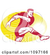 Clipart Retro Male Rugby Player Kicking The Ball Over Rays Royalty Free Vector Illustration
