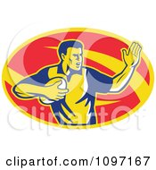 Clipart Retro Male Rugby Player Fending The Ball Royalty Free Vector Illustration