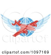 Clipart Retro Red Jumbo Jet Propeller Airplane Over A Winged Globe Royalty Free Vector Illustration