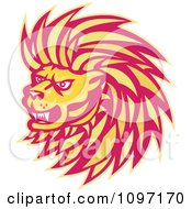 Clipart Retro Yellow And Red Angry Lion Head Royalty Free Vector Illustration