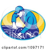 Clipart Retro Automobile Mechanic Using A Socket Wrench On A Car Engine Royalty Free Vector Illustration by patrimonio