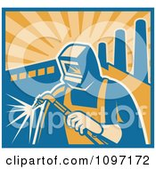 Clipart Retro Welder Using A Torch With Factory Smoke Stacks And Rays Royalty Free Vector Illustration by patrimonio